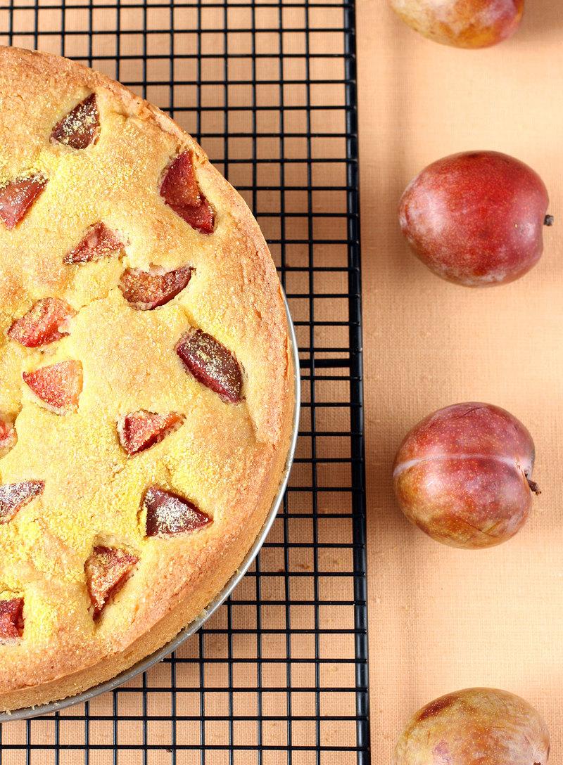 Plum Cornmeal Cake