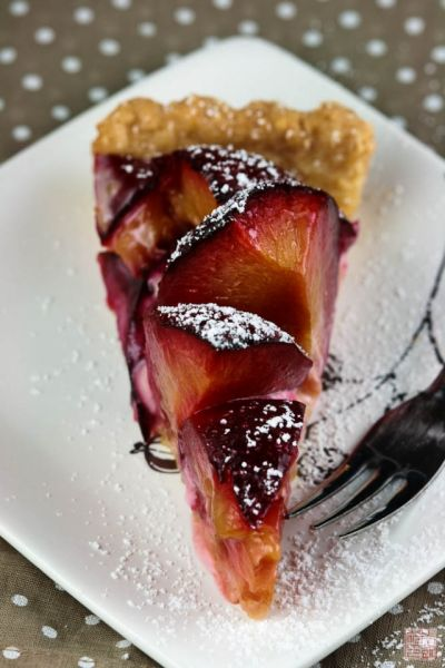 pluot tart slice