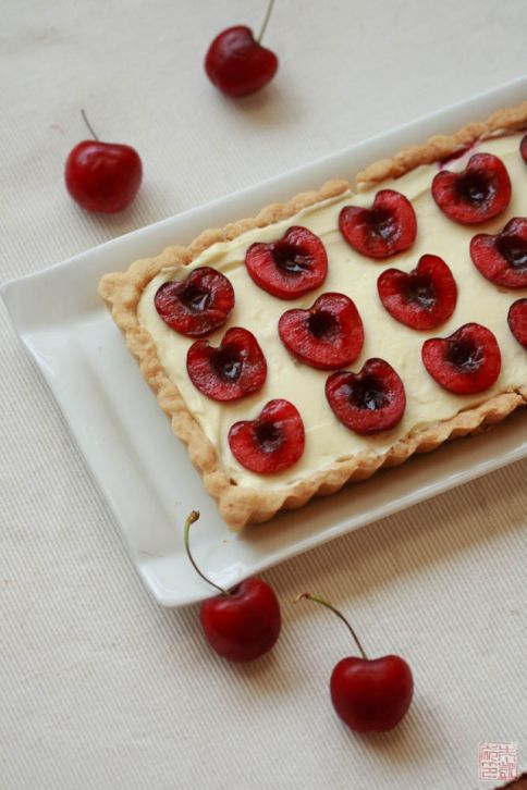 Cherry Coconut Cream Tart on dessertfirstgirl.com