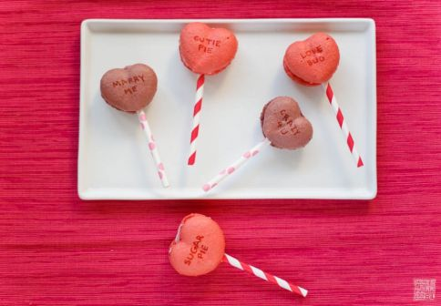 Conversation Heart Macarons on dessertfirstgirl.com