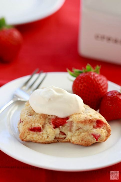 strawberry and rhubarb scone