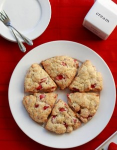 Strawberry and Rhubarb Scones with Vanilla Whipped Cream