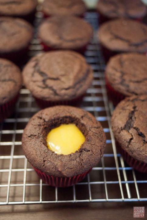 Chocolate Cupcakes with Passion Fruit Curd