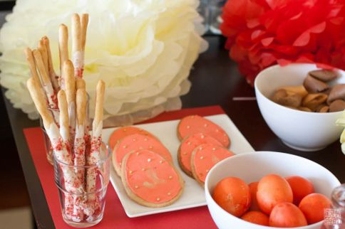 Red egg and ginger dessert table
