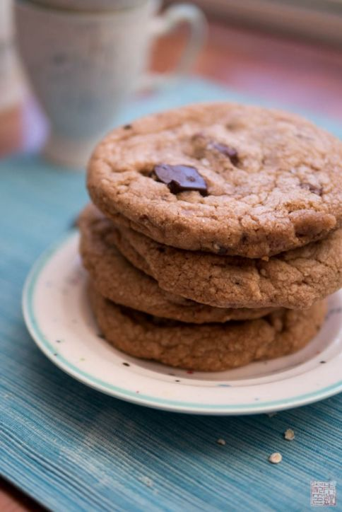 milk chocolate chip cookies stack