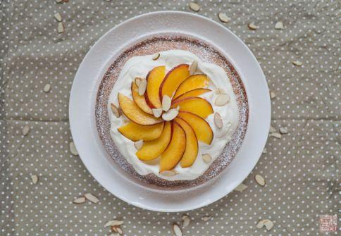 peach almond cake overhead