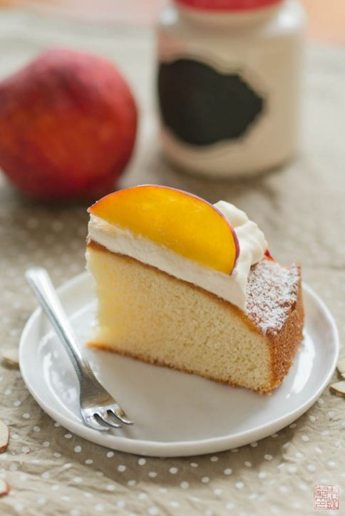 peach almond cake slice