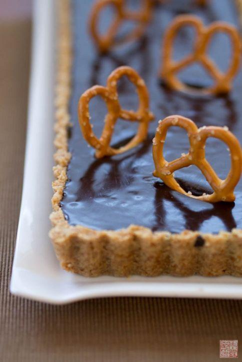 pretzel malted milk chocolate tart on dessertfirstgirl.com
