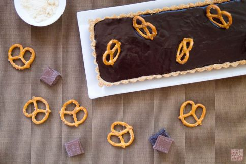 pretzel malted milk chocolate tart on dessertfirstgirl.com