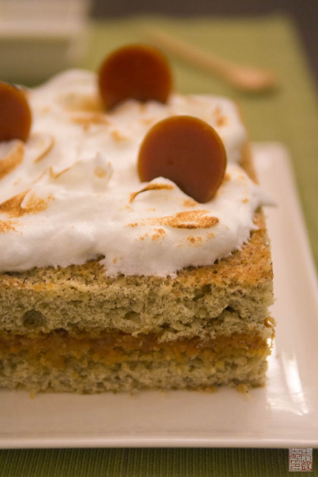Banana Cake with Passionfruit Caramel and Coconut Meringue