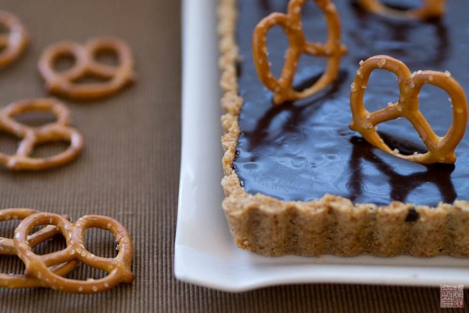 Back to Childhood: Malted Milk Chocolate Pretzel Tart - Dessert First