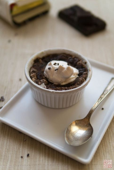 intensely bittersweet chocolate souffle