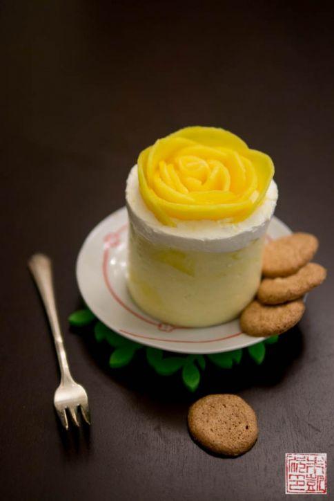 mango mousse cake plate