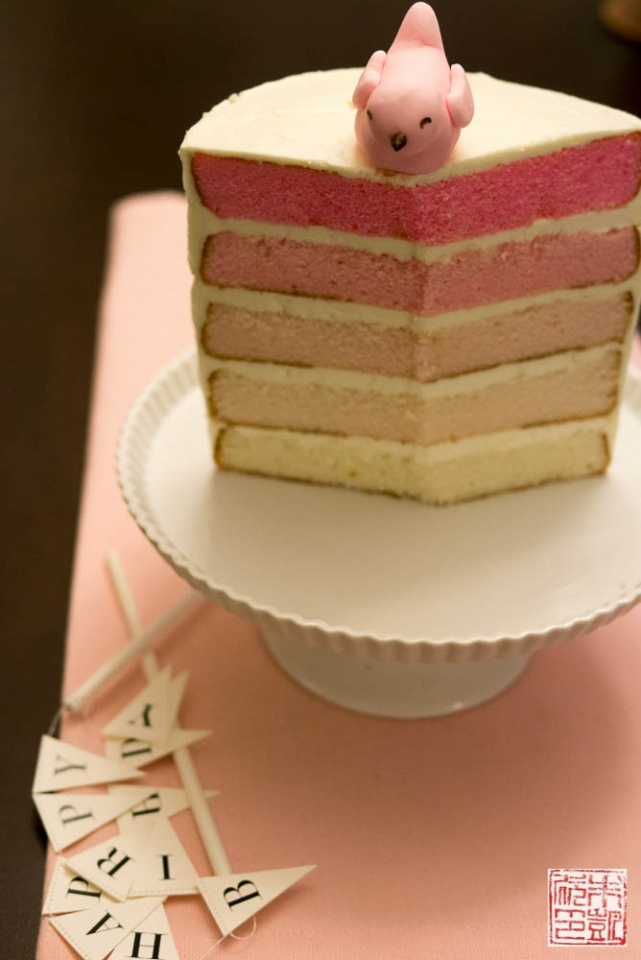 Pink Ombre Cake For Babys 1st Birthday Dessert First