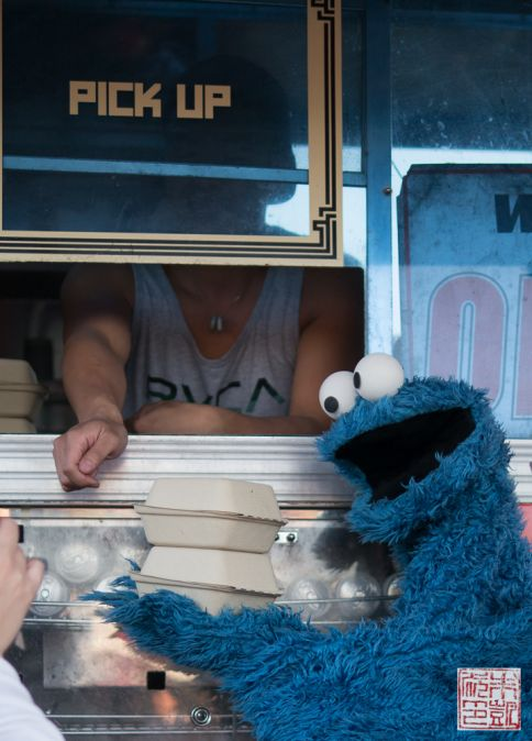 Cookie Monster eating Chairman Bao