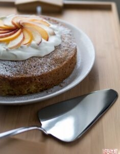 Dessert First + Alessi: Olive Oil Cake with Roasted Peaches