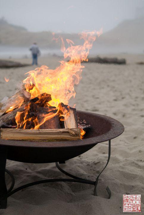 Tillamook beach bonfire