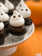 Deep Dark Chocolate and Ghostly Meringue Cupcakes