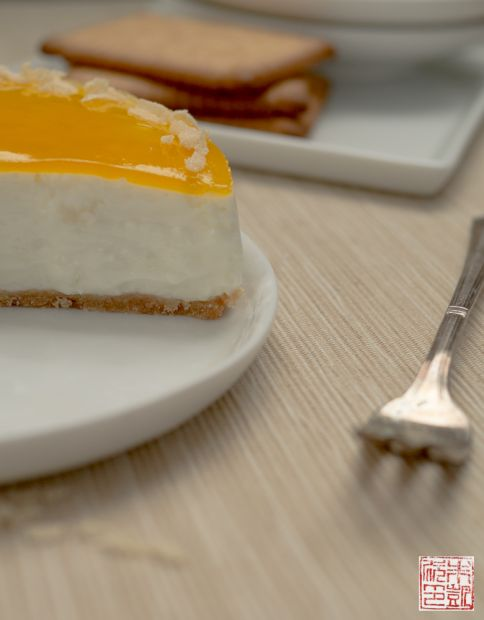 Mango Coconut Cheesecake slice
