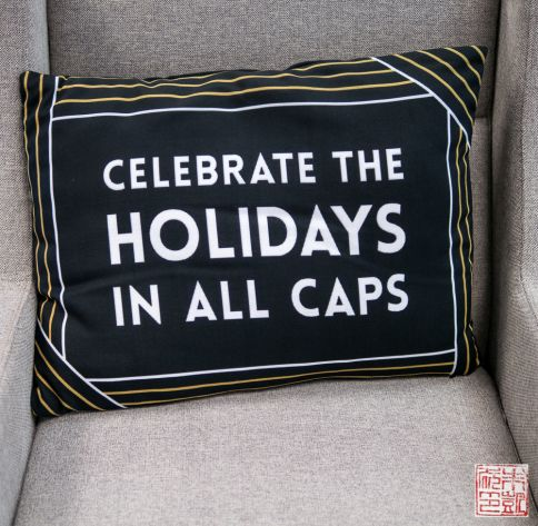 tiny prints bfff holiday pillow