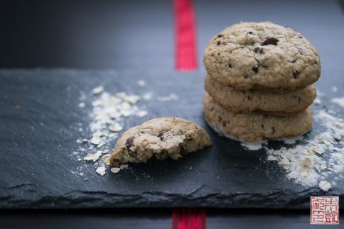 chocolate chip GF cookies stack