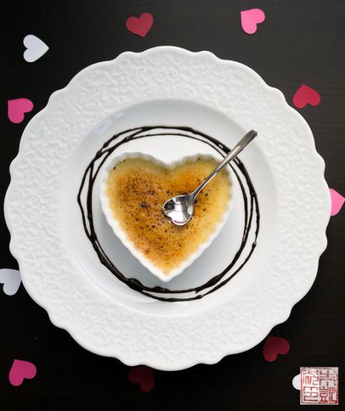 Valentine creme brulee heart