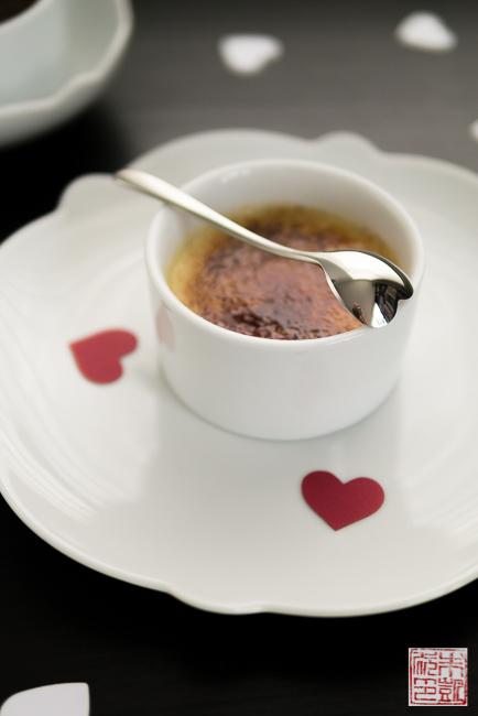 Chocolate vanilla creme brulee heart