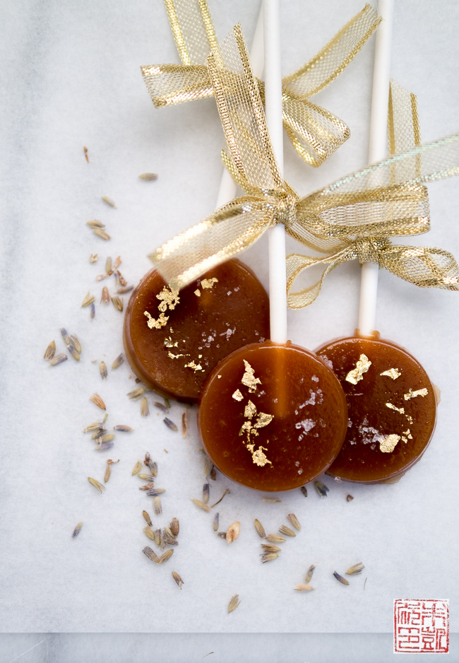 Caramel, Lavender, and Fleur de Sel Lollipops - Dessert First