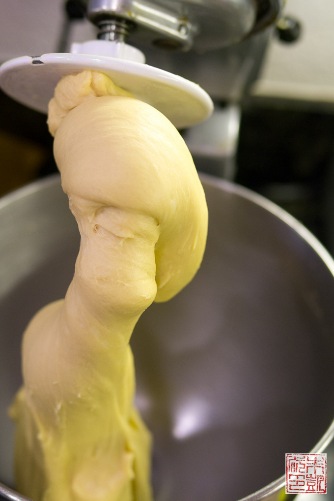 Pineapple Bun dough in mixer