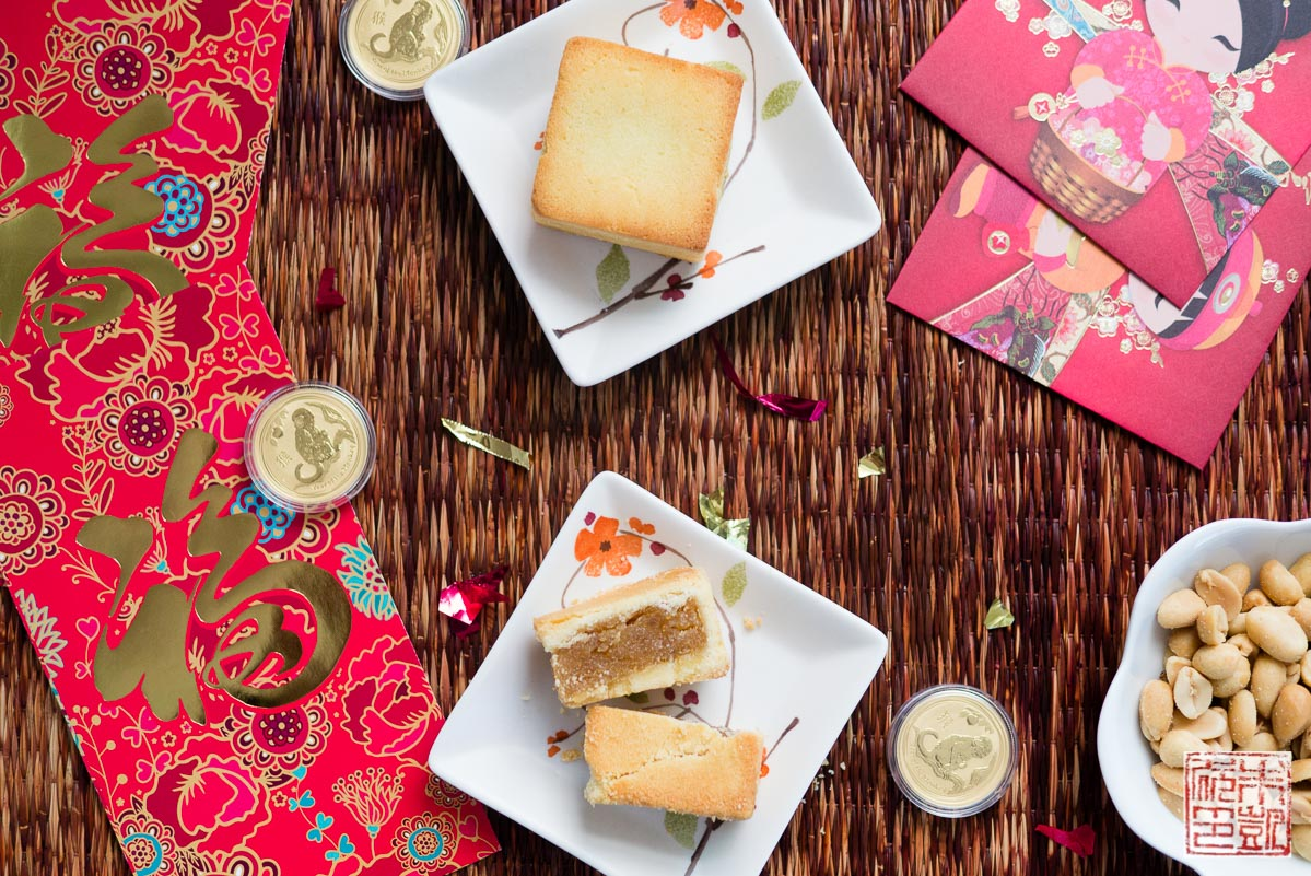 happy year of the monkey  with chinese pineapple cakes  feng li su