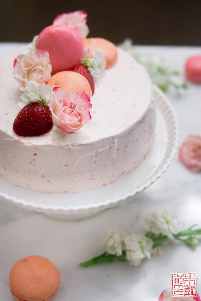 Strawberry Pink Velvet Cake side