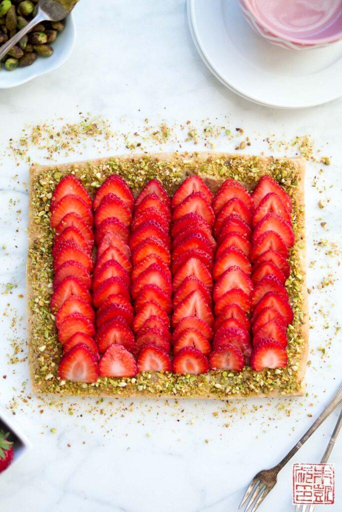 Strawberry Pistachio Frangipane Tart Overhead