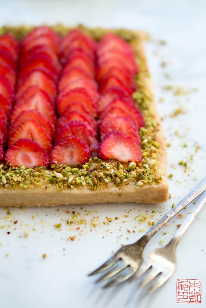Strawberry Pistachio Frangipane Tart Forks