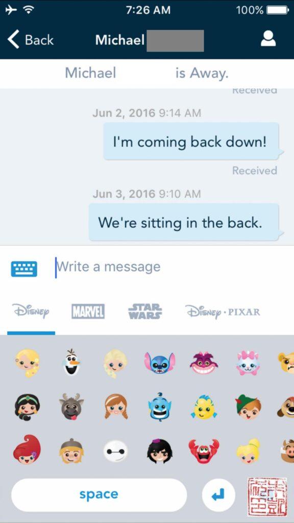 Disney Navigator App emojis