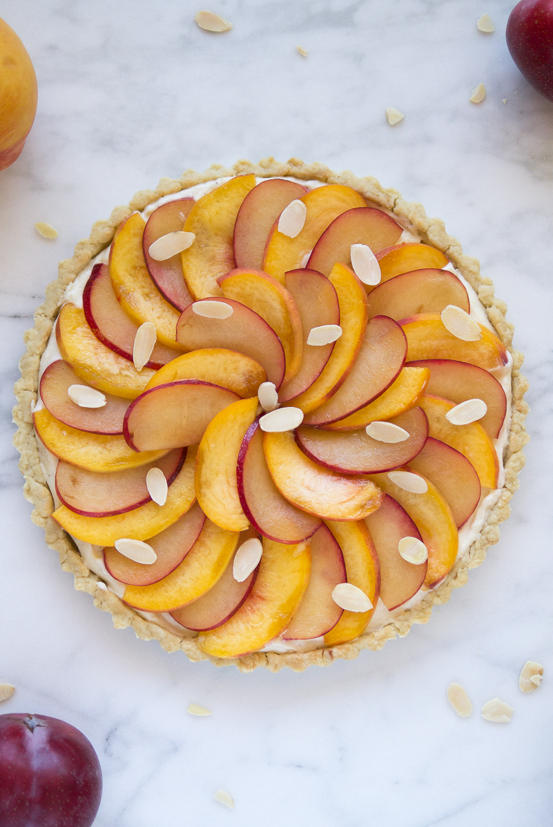 Peach Plum Tart with Cinnamon Vanilla Pastry Cream - Dessert First
