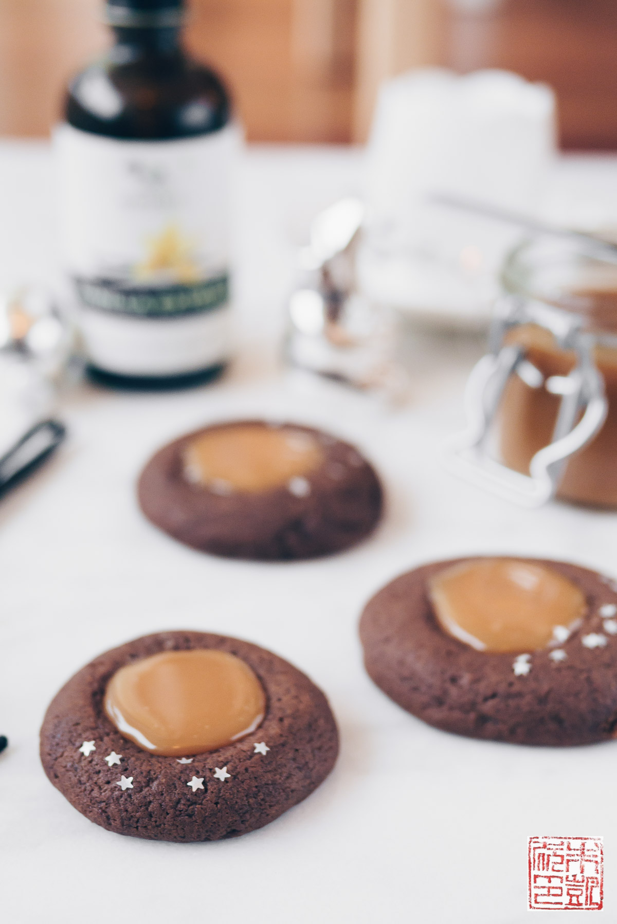 Gingerbread Thumbprint Cookies with Salted Caramel - Dessert First