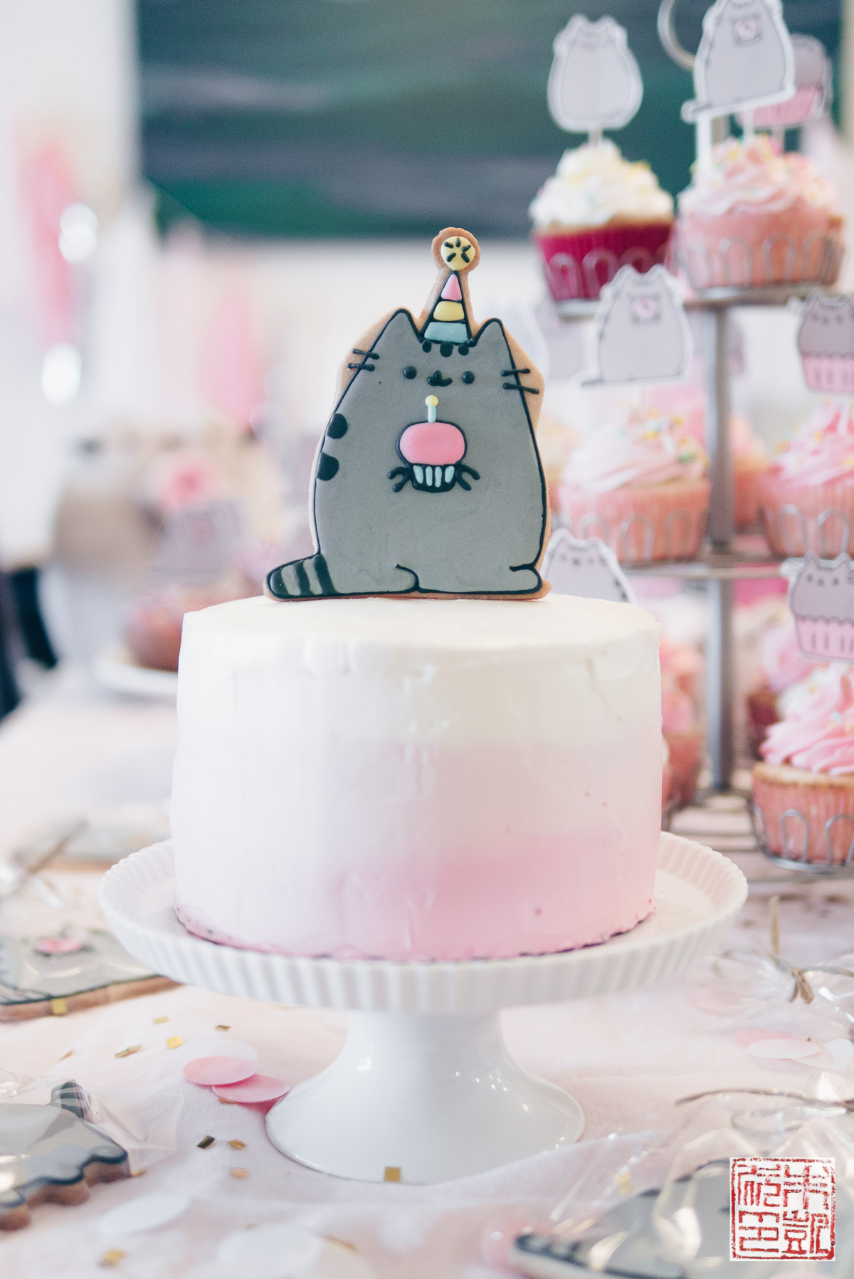 Swell Pusheen Birthday Party For A 4 Year Old Dessert First Personalised Birthday Cards Veneteletsinfo