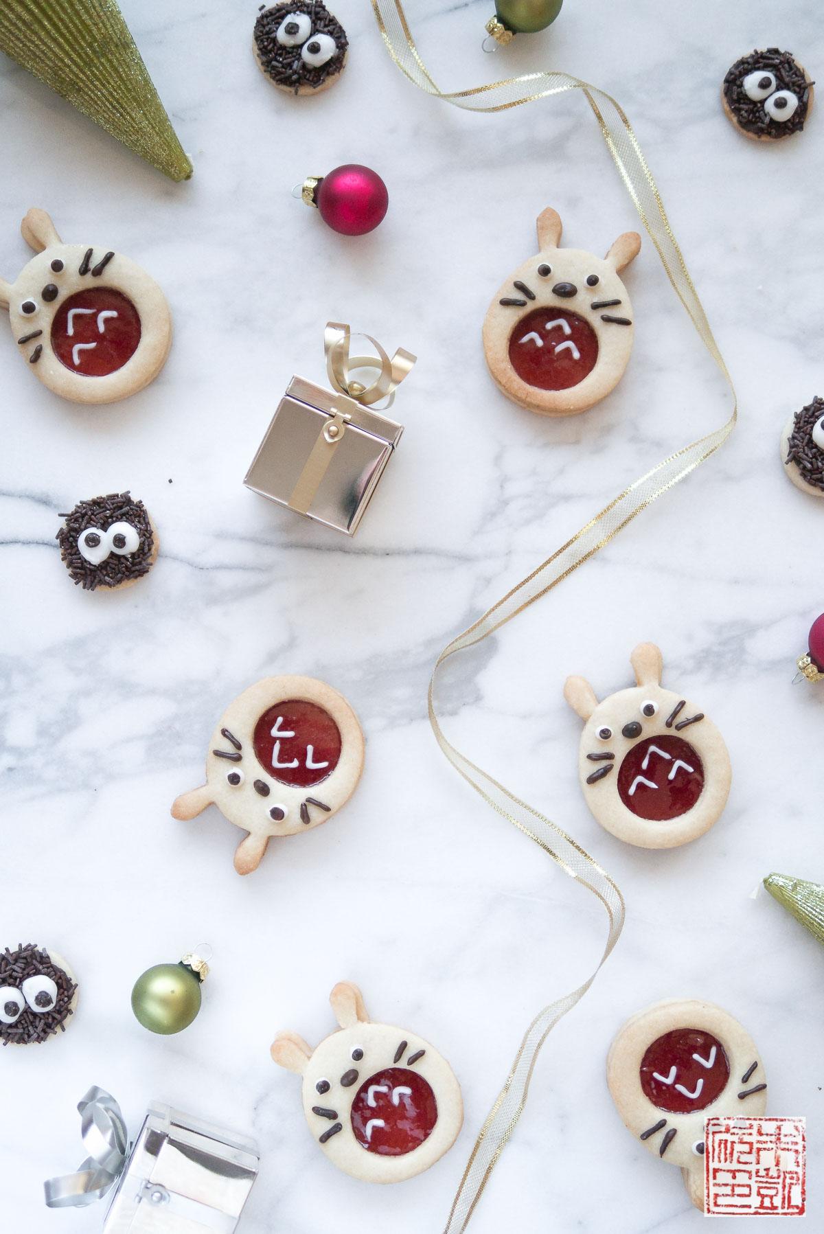 Totoro Linzer Cookies