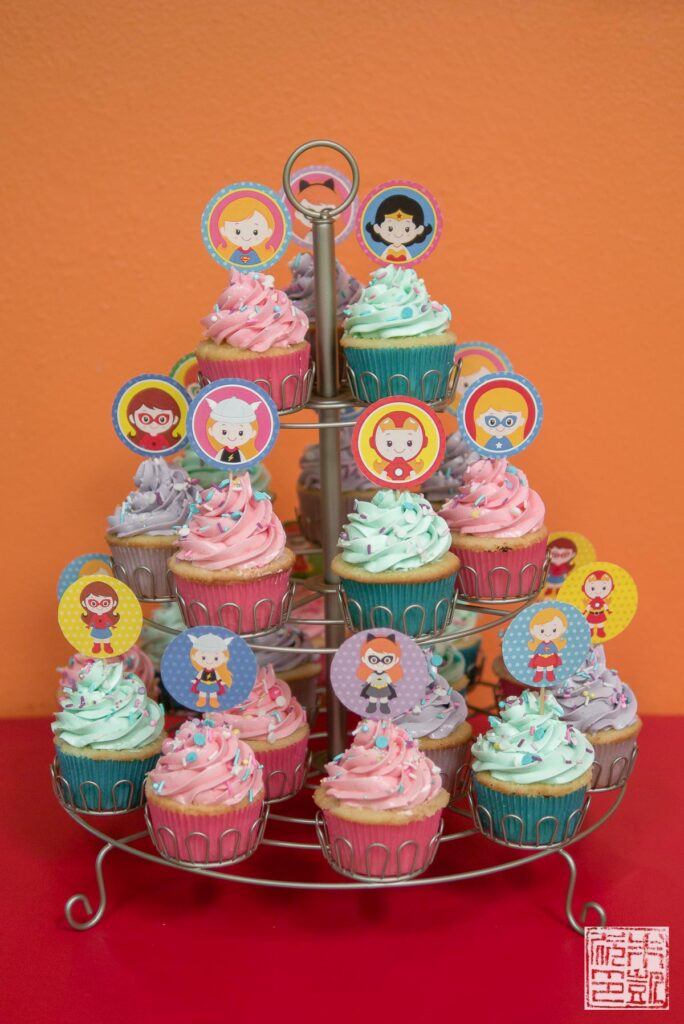 Superhero Girl Cupcakes display stand