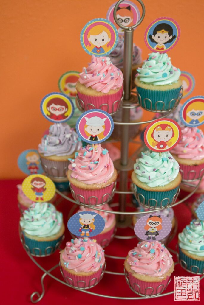 Superhero Girl Cupcakes tower