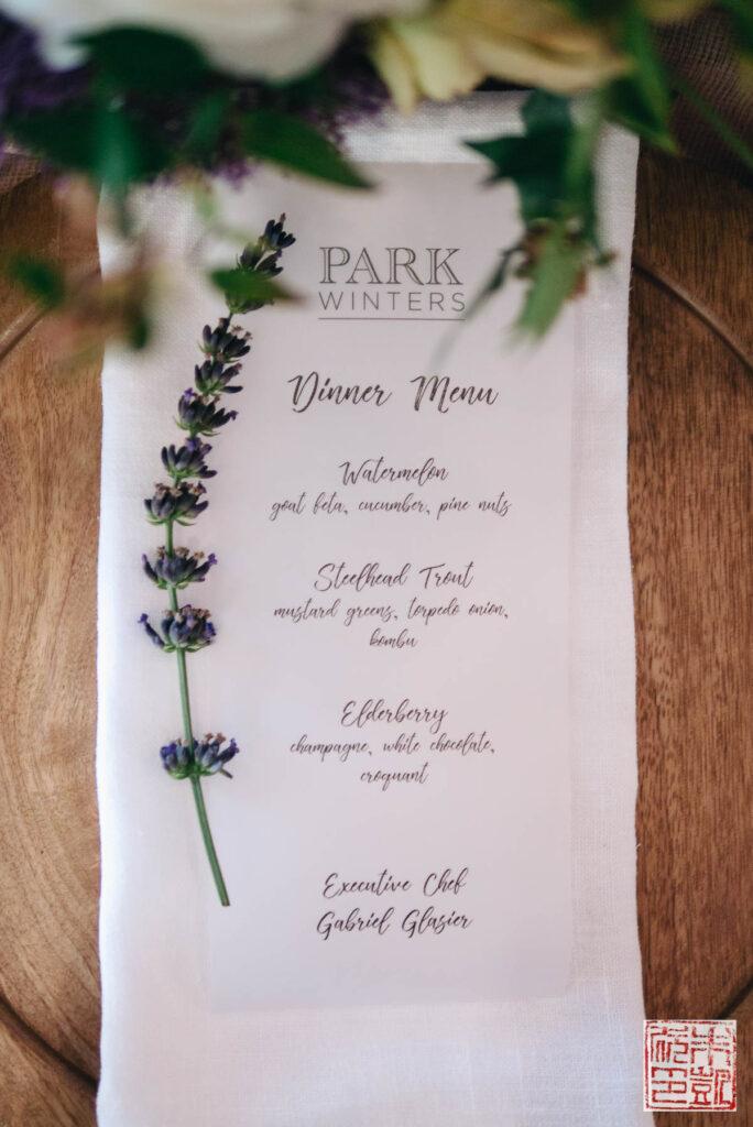 Park Winters Dinner Menu