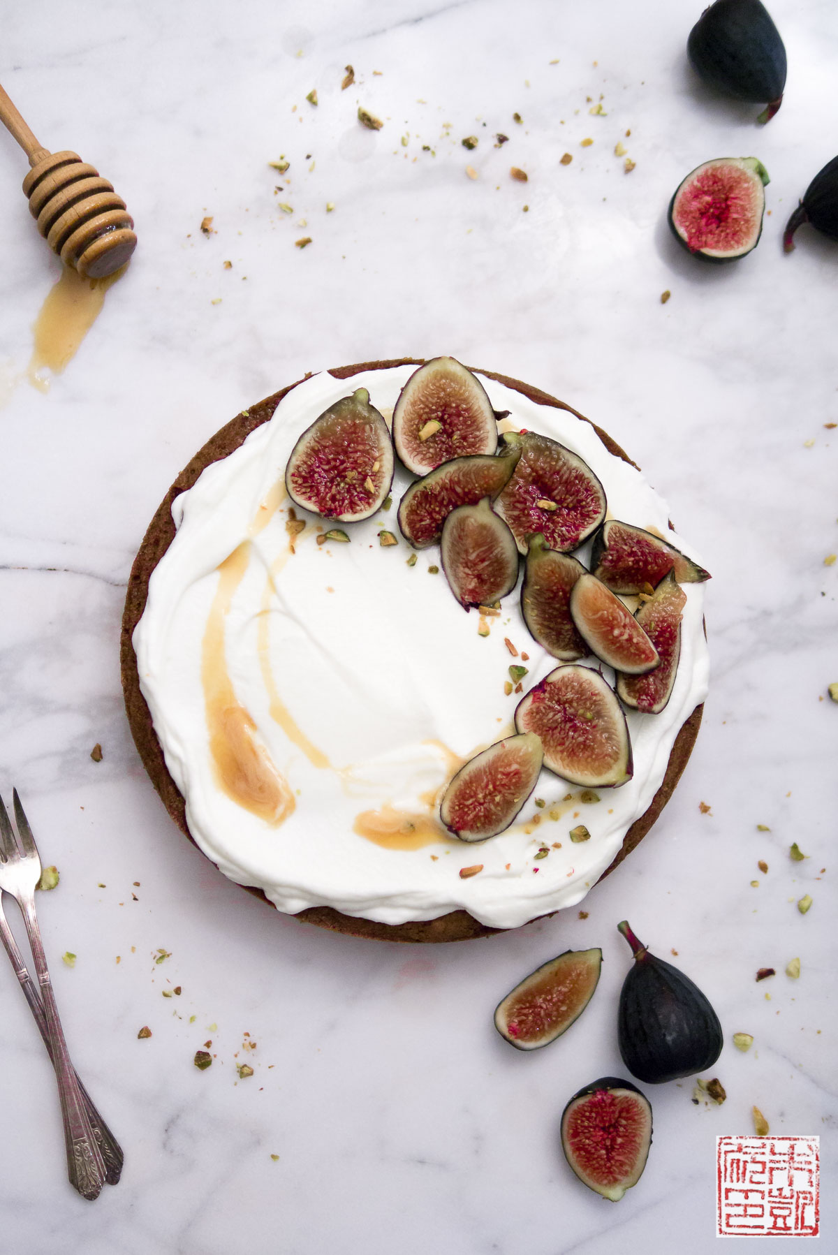 Fig and Honey Cake with Creme Fraiche Whipped Cream - Dessert First