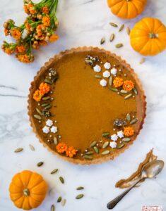 Autumn Pumpkin Tart Flatlay