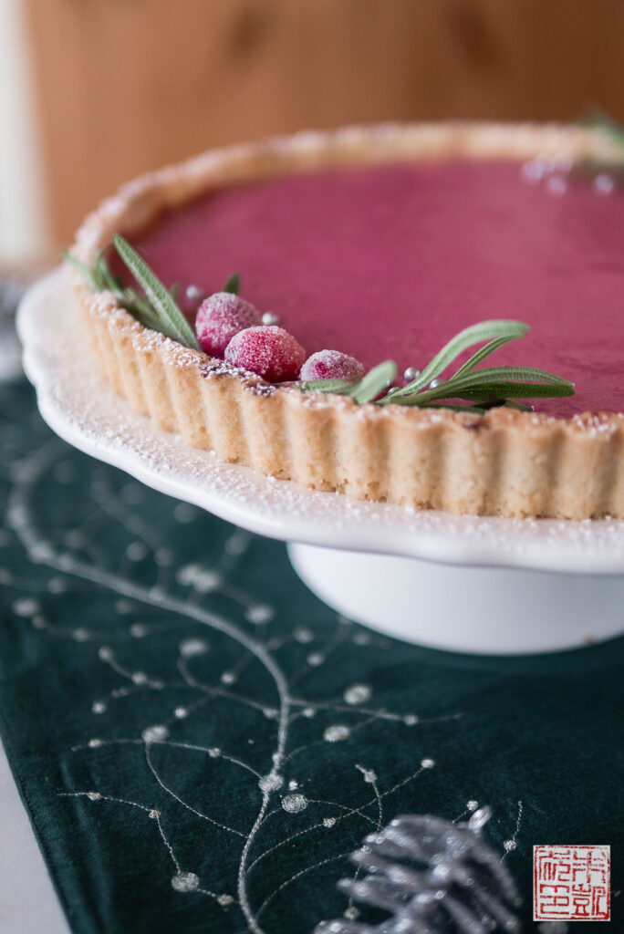 Cranberry Pomegranate Curd Tart Side