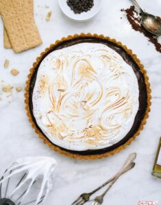 S'mores Chocolate Whiskey Pudding Tart