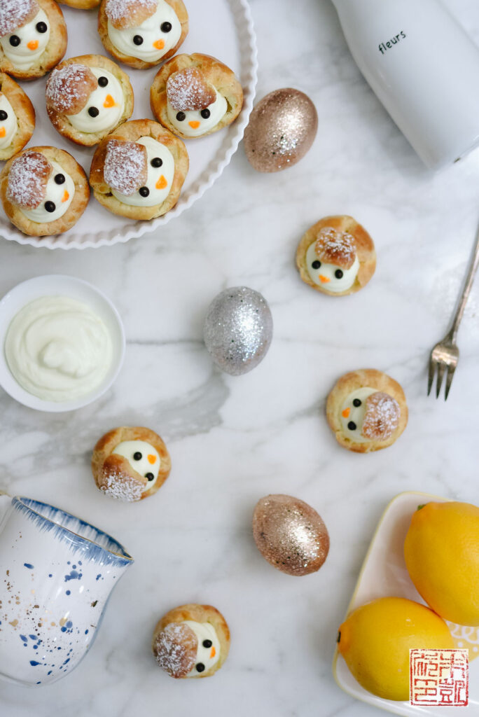 Easter Chick Cream Puffs Flatlay