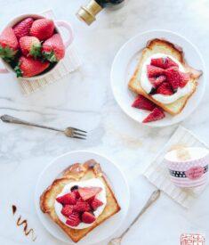 Strawberry Brioche Toast Flatlay