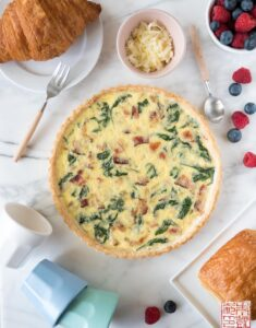 Bacon Spinach Quiche flatlay