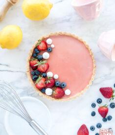 Strawberry Lemon Curd Tart Flatlay