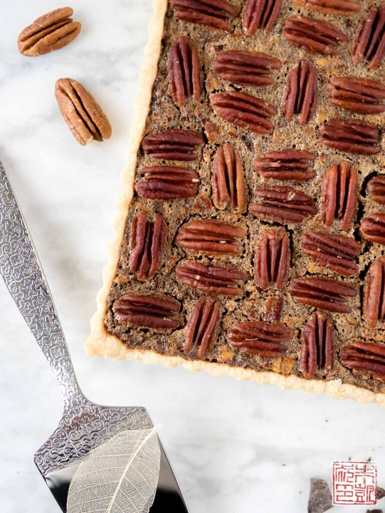 Chocolate Pecan Tart Closeup